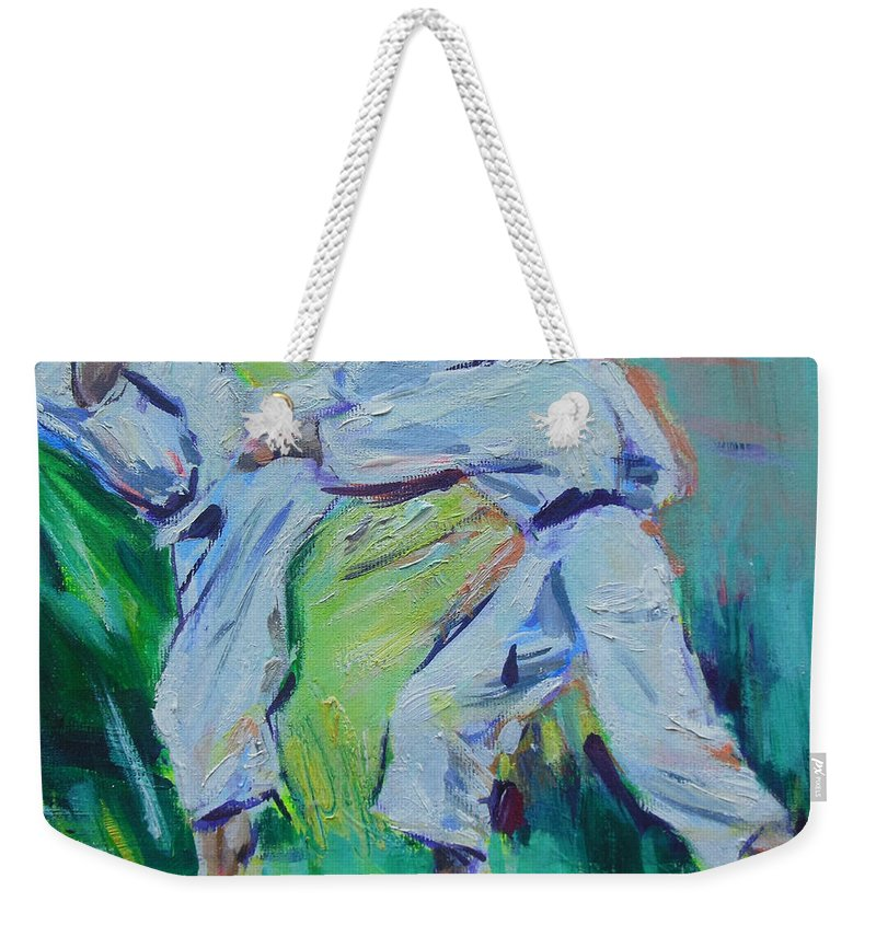 Shi Weekender Tote Bag featuring the painting Shi by Lucia Hoogervorst