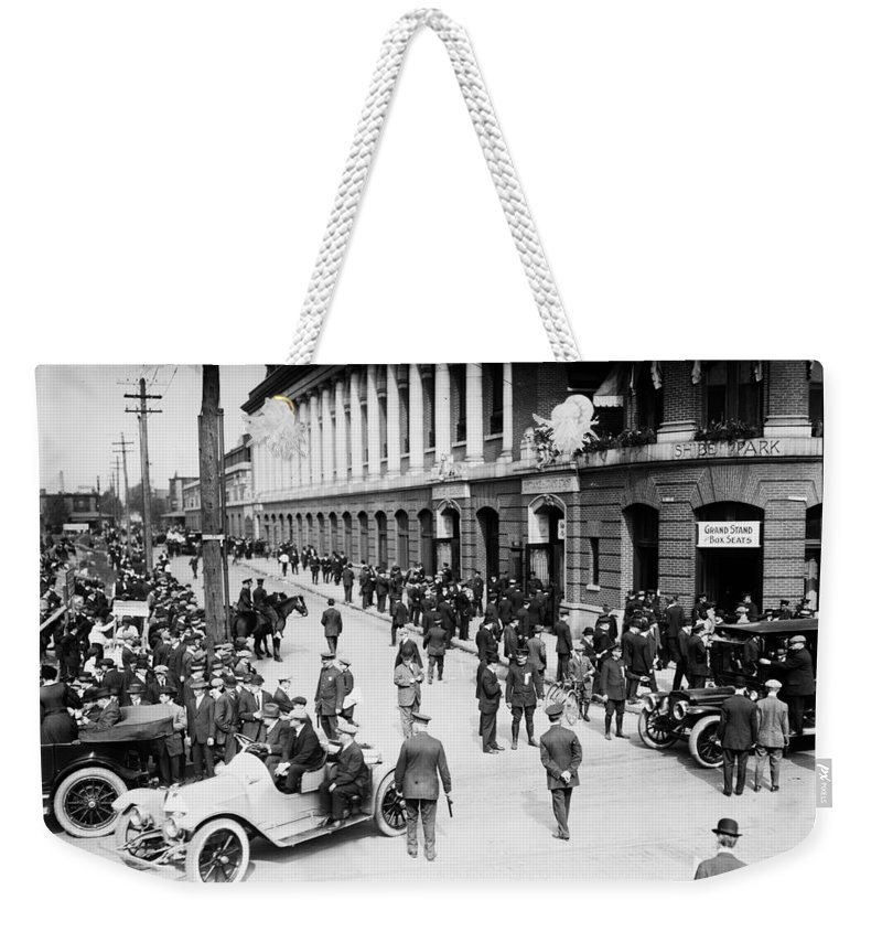 Shibe Park 1914 Weekender Tote Bag featuring the photograph Shibe Park 1914 by Bill Cannon