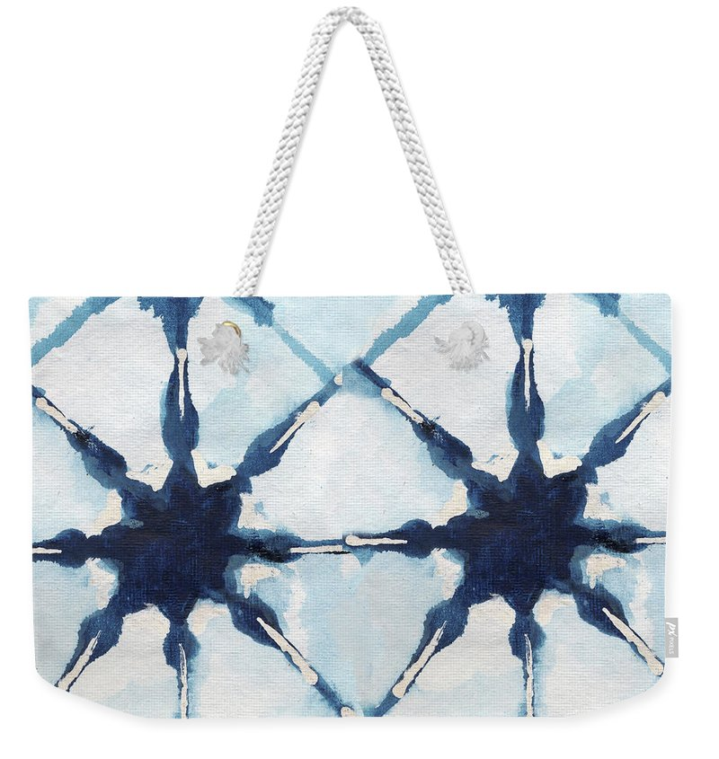 Shibori Weekender Tote Bag featuring the digital art Shibori II by Elizabeth Medley