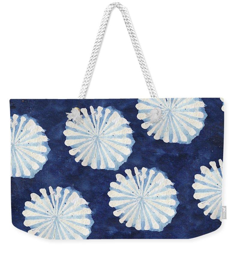 Shibori Weekender Tote Bag featuring the digital art Shibori IIi by Elizabeth Medley