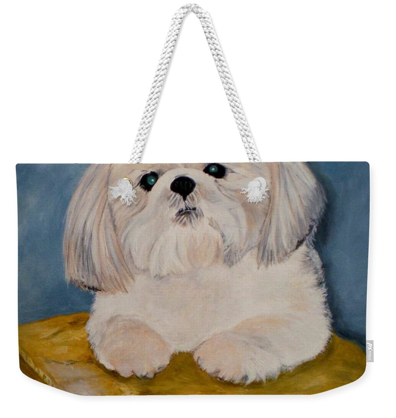 Dog Weekender Tote Bag featuring the painting Shihtzu by Graciela Castro
