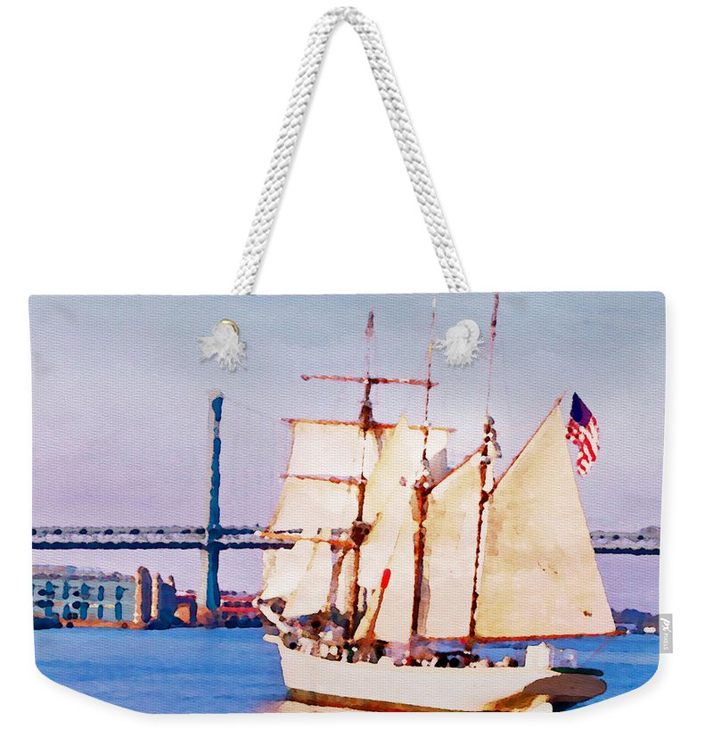Ship Weekender Tote Bag featuring the photograph Ship Coming In by Alice Gipson