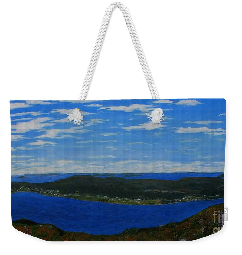 Barbara Griffin Weekender Tote Bag featuring the painting Ship Harbour From Sugarloaf Hill by Barbara Griffin