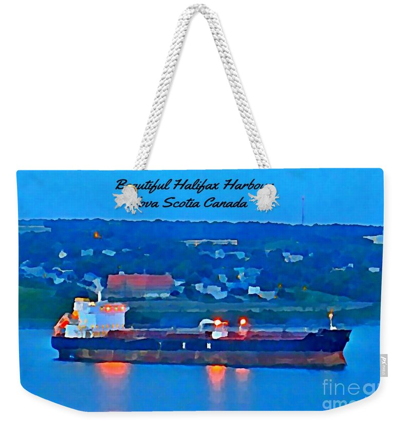 Ship In Beautiful Halifax Harbour Weekender Tote Bag featuring the painting Ship In Beautiful Halifax Harbour by John Malone