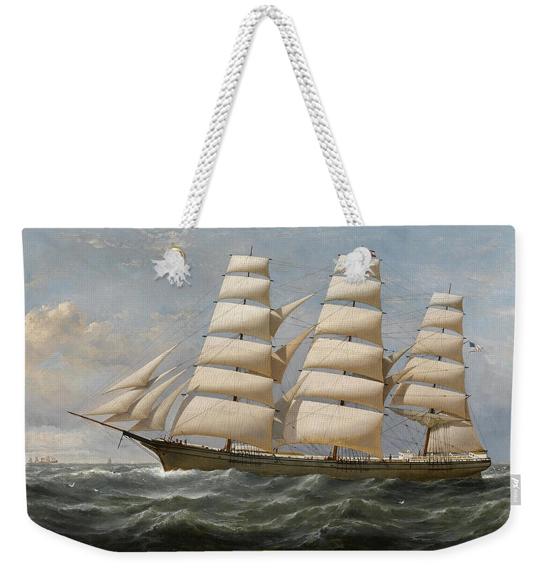 Horizon Weekender Tote Bag featuring the painting Ship by Samuel Walters
