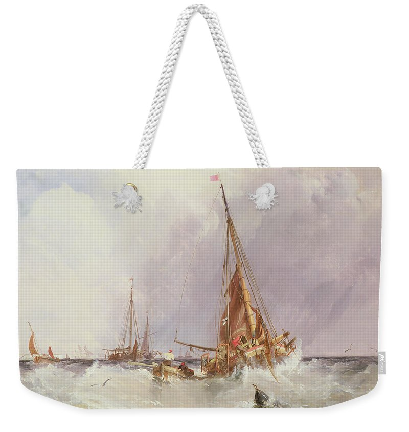 Sea; Ocean; Ship; Boat; Sail; Sailing; Coast; Coastal; Storm; Stormy; Wave Weekender Tote Bag featuring the painting Shipping In The Solent 19th Century by George the Elder Chambers