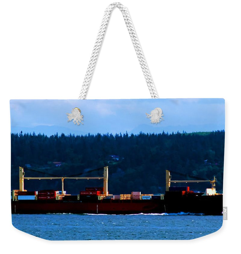 Cargo Ship Weekender Tote Bag featuring the photograph Shipping Lane by Tap On Photo