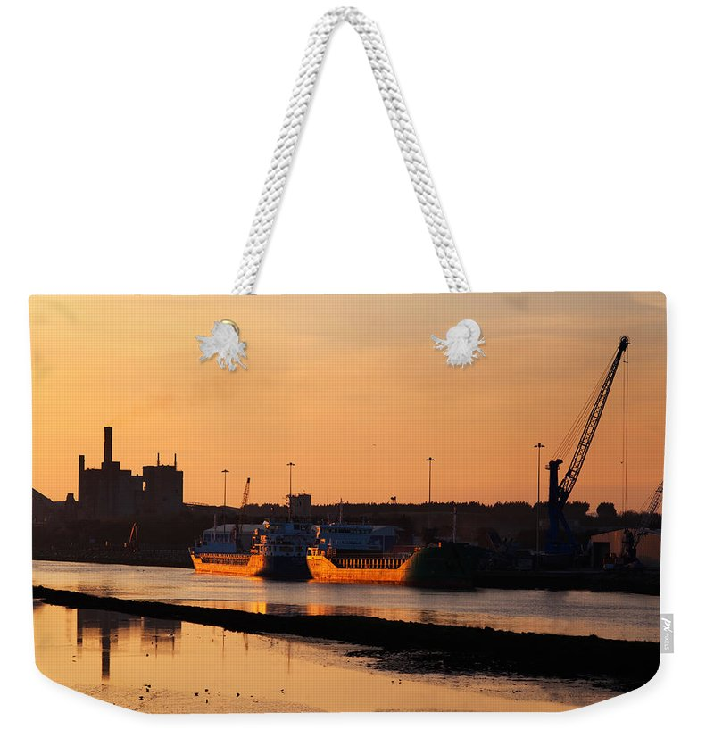 Photography Weekender Tote Bag featuring the photograph Ships Moored At The New Docking by Panoramic Images