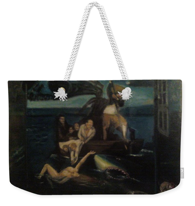 Weekender Tote Bag featuring the painting Shipwrecked Psyche Unfinished by Jude Darrien