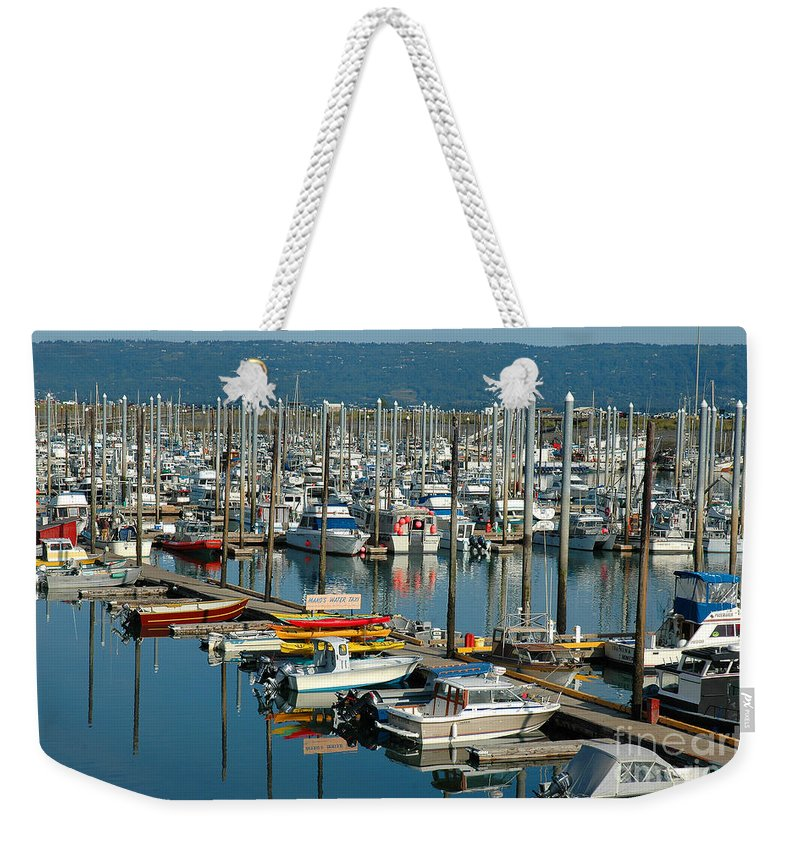 Homer Spit Weekender Tote Bag featuring the photograph Shipyard by Joan Wallner