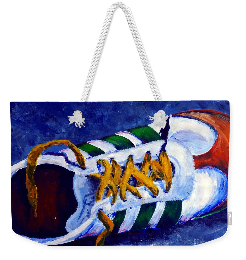 Lost Weekender Tote Bag featuring the painting Shoeless by Jackie Carpenter