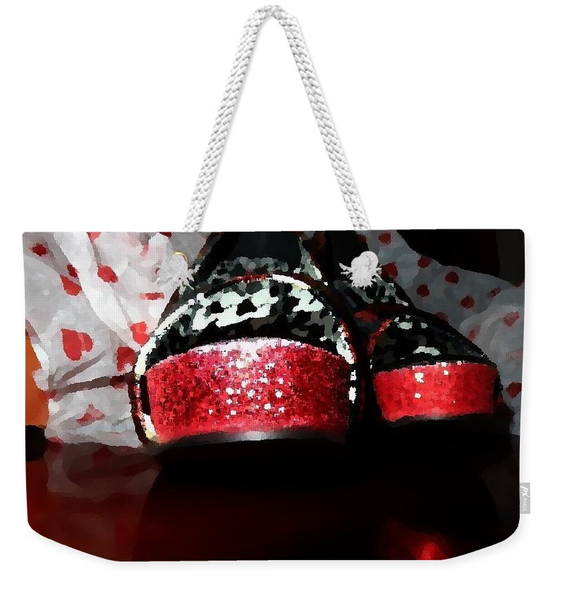 Shoes Weekender Tote Bag featuring the painting Shoeluv Painted by Jannice Walker