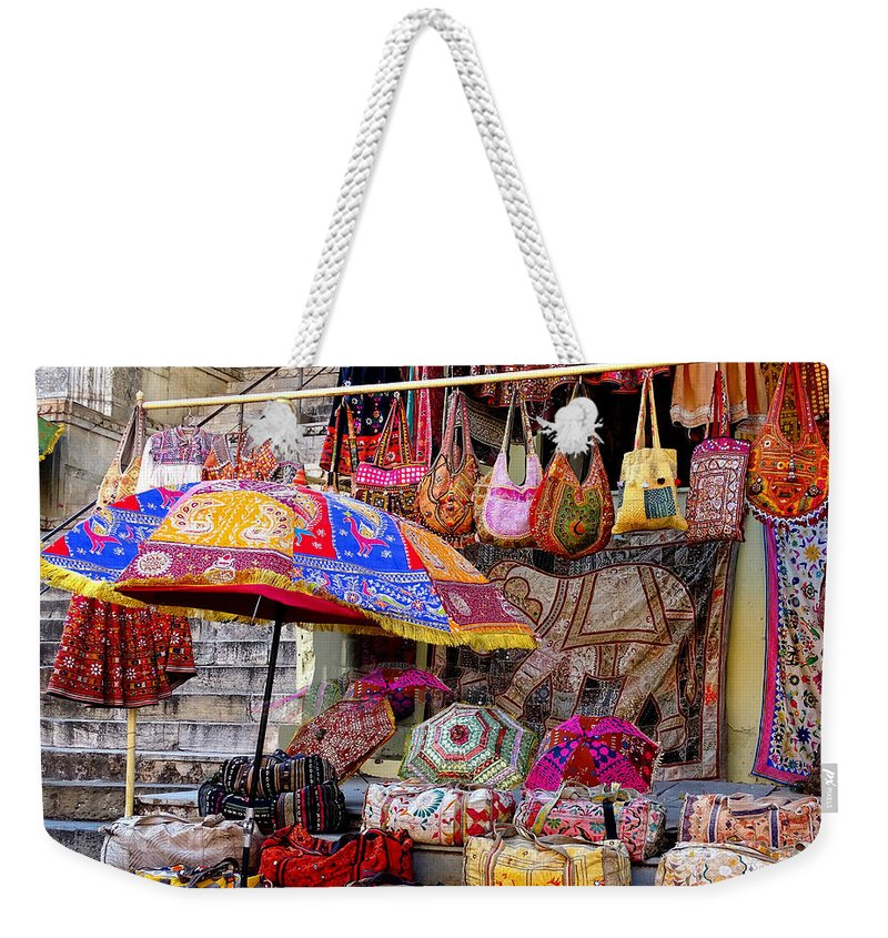 5ba1f045fe28 Shopping Weekender Tote Bag featuring the photograph Shopping Colorful Bags  Sale Jaipur Rajasthan India by Sue