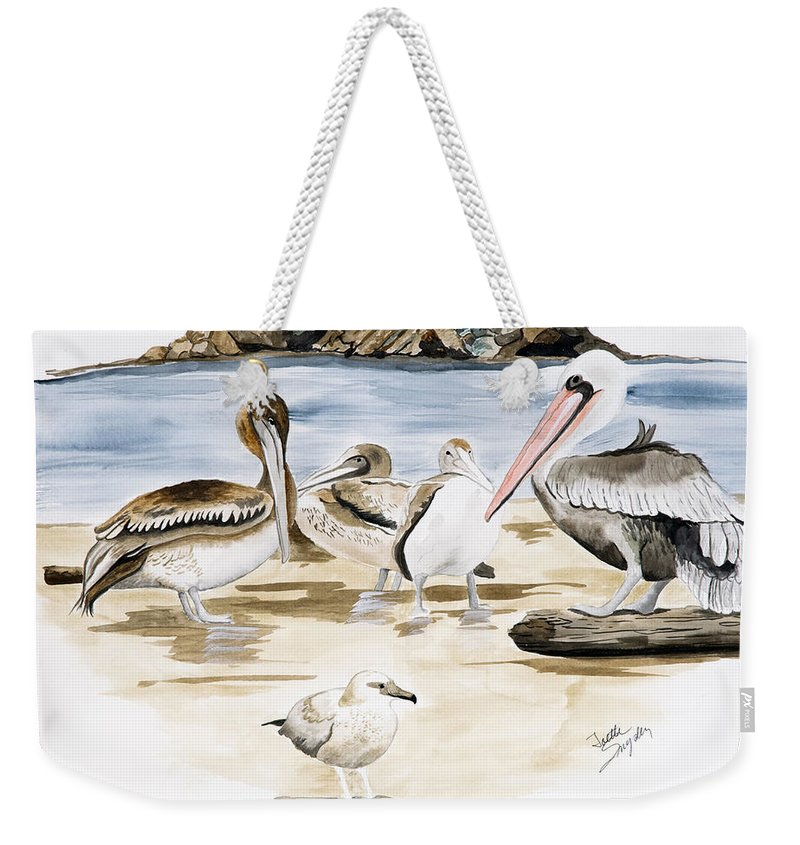 Birds Weekender Tote Bag featuring the painting Shore Birds by Joette Snyder