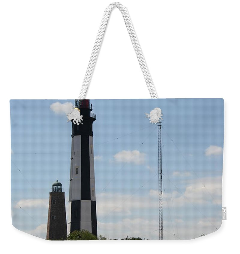 Lighthouse Weekender Tote Bag featuring the photograph Short And Tall Cape Henry Lights by Christiane Schulze Art And Photography