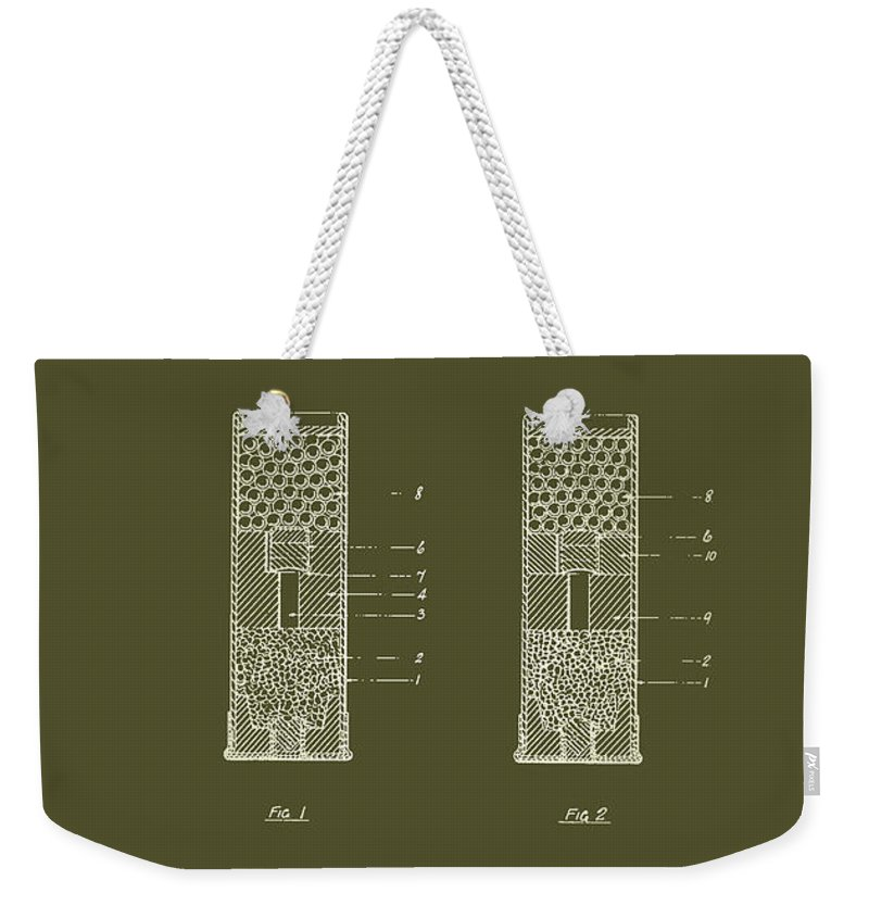 Patent Weekender Tote Bag featuring the drawing Shotgun Cartridge Patent by Mountain Dreams