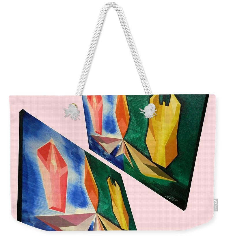 Spirituality Weekender Tote Bag featuring the painting Shots Shifted - Infini-justice 3 by Michael Bellon