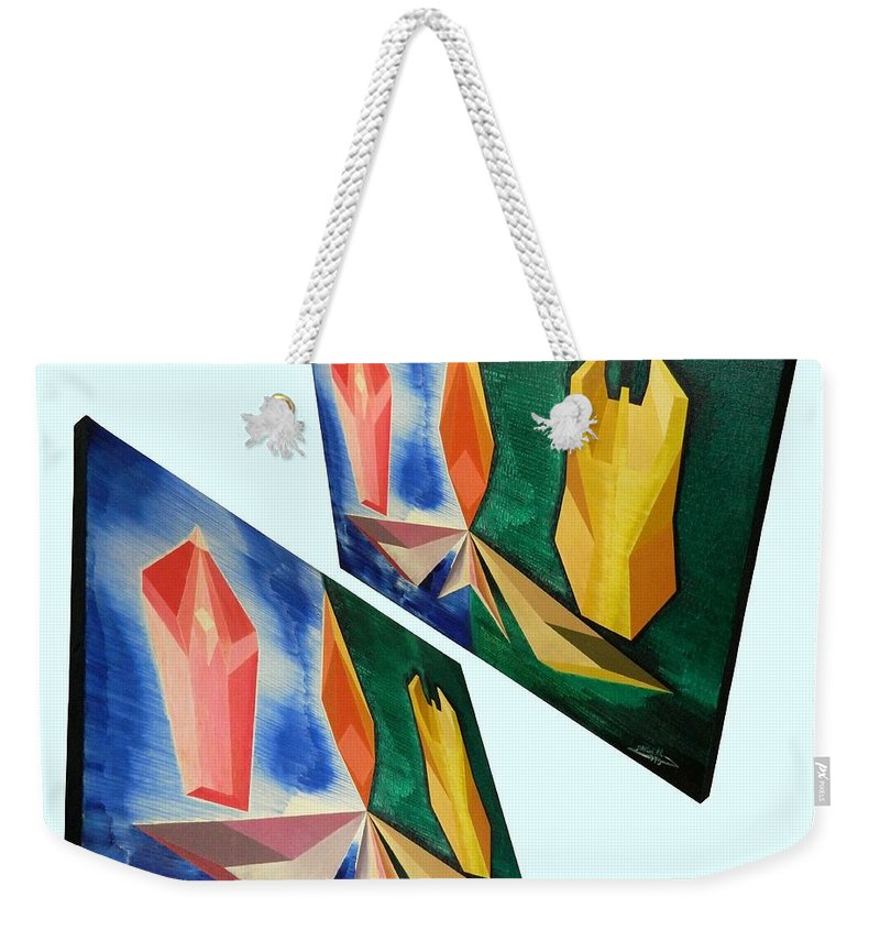Spirituality Weekender Tote Bag featuring the painting Shots Shifted - Infini-justice 6 by Michael Bellon
