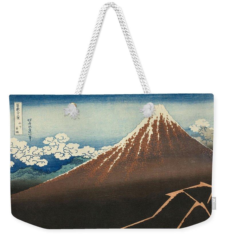 Katsushika Hokusai Weekender Tote Bag featuring the painting Shower Below The Summit by Katsushika Hokusai