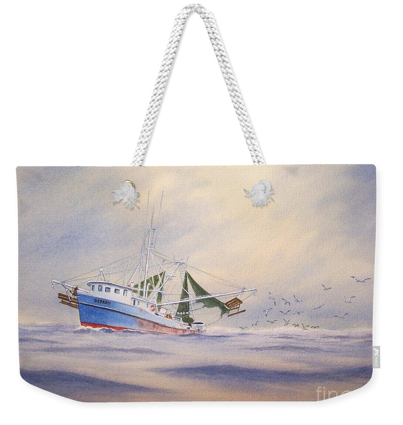 Shrimp Boat Weekender Tote Bag featuring the painting Shrimp Boat On The Gulf by Bill Holkham