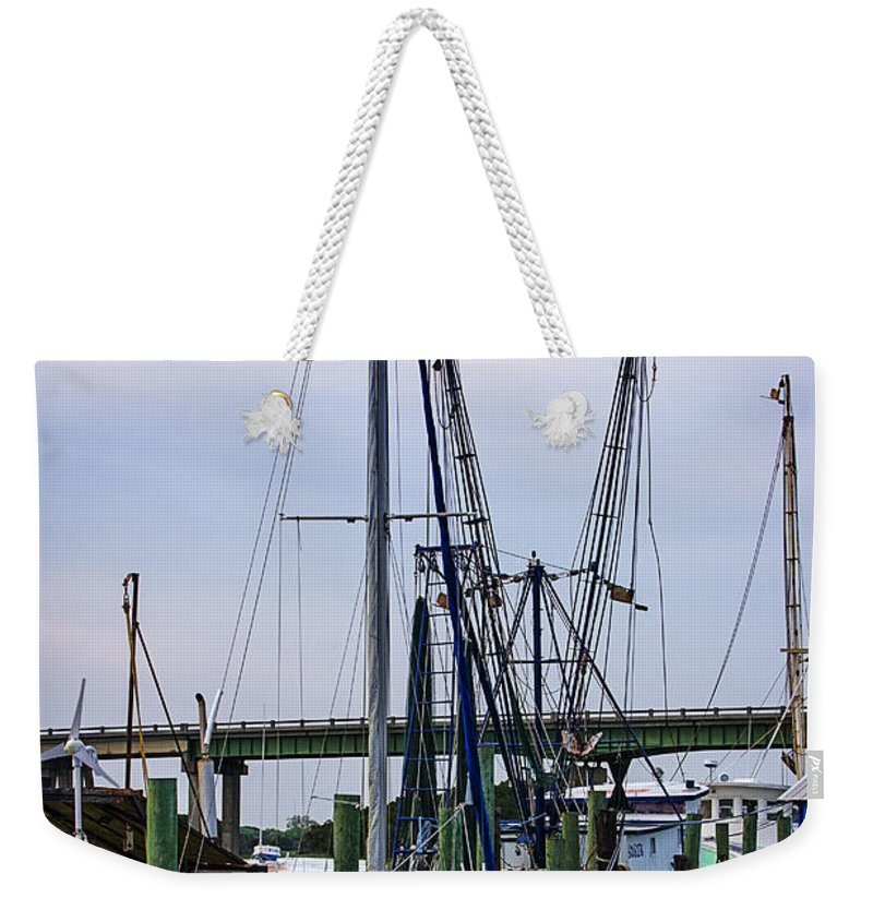 Shrimp Boats Weekender Tote Bag featuring the photograph Shrimp Boats At Lazaretto Creek by Priscilla Burgers