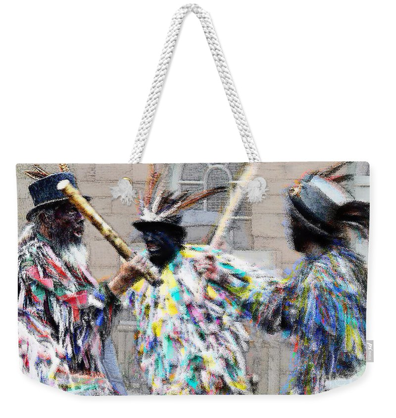 Hats Weekender Tote Bag featuring the painting Shropshire Bedlams Border Morris by Neil Finnemore