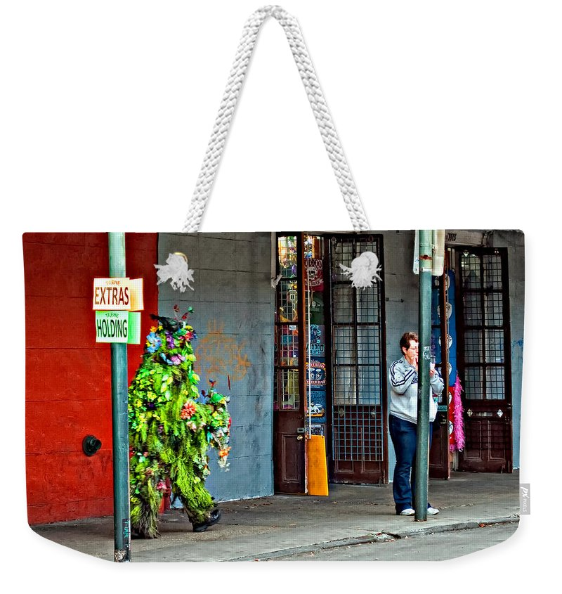 French Quarter Weekender Tote Bag featuring the photograph Shrubman On The Move by Steve Harrington