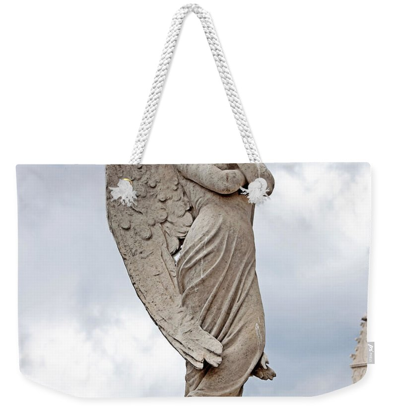 Angel Weekender Tote Bag featuring the photograph Shy Angel by Terry Reynoldson