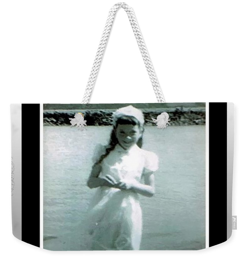 Shy Girl With New Easter Dress Weekender Tote Bag featuring the photograph Shy Girl With New Easter Dress by Barbara Griffin