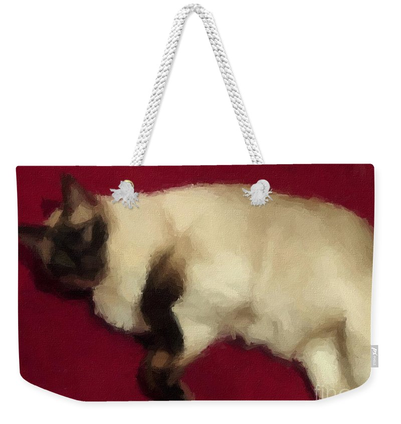 Siamese Expressive Brushstrokes Weekender Tote Bag featuring the photograph Siamese Expressive Brushstrokes by Barbara Griffin