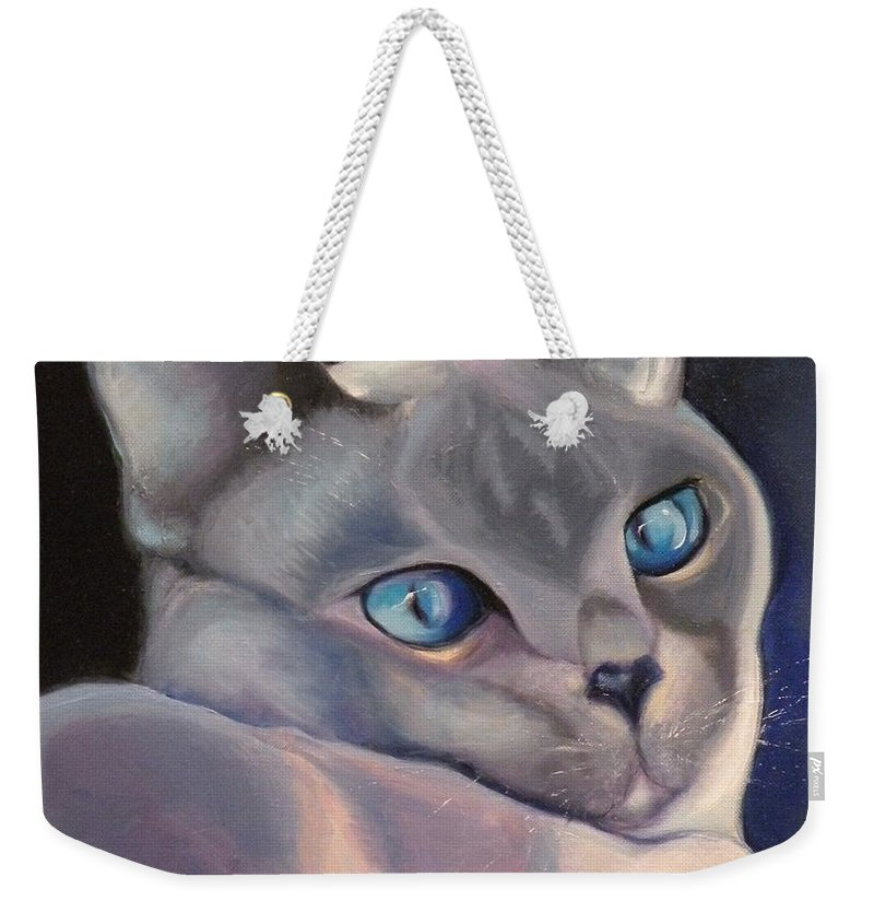 Cat Siamese Greeting Card Weekender Tote Bag featuring the painting Siamese In Blue by Susan A Becker