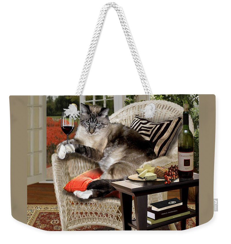 Photo Realism Weekender Tote Bag featuring the painting Funny wine bibbing cat by Regina Femrite