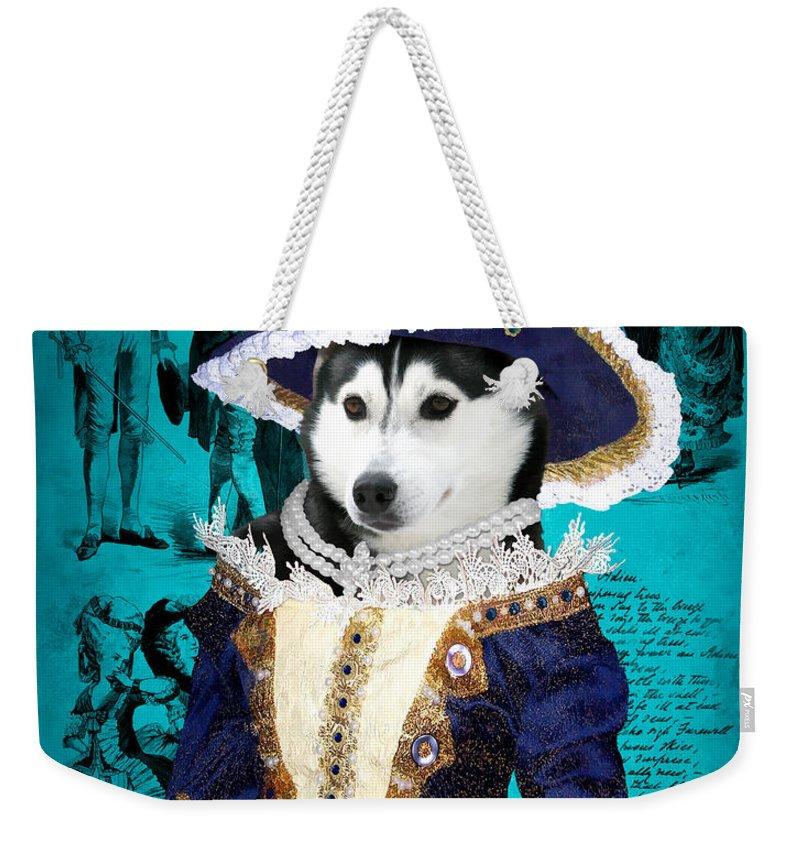 Siberian Husky Weekender Tote Bag featuring the painting Siberian Husky Art Canvas Print - Baroness by Sandra Sij