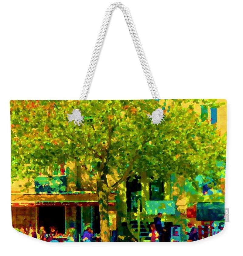 Montreal Weekender Tote Bag featuring the painting Sidewalk Cafe Rue St Denis Dappled Sunlight Shade Trees Joys Of Montreal City Scene Carole Spandau by Carole Spandau