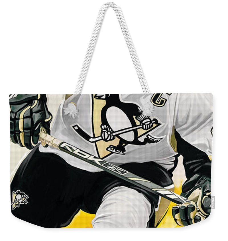 Sidney Crosby Paintings Weekender Tote Bag featuring the mixed media Sidney Crosby Artwork by Sheraz A