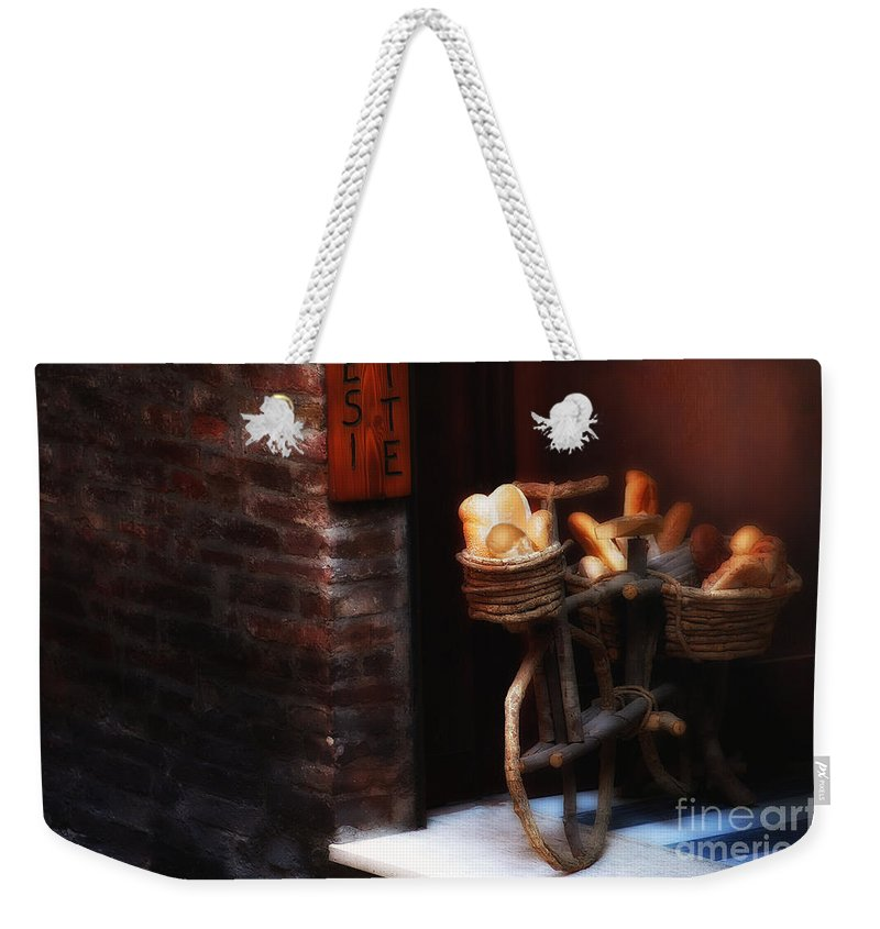 Siena Weekender Tote Bag featuring the photograph Siena Bakery by Mike Nellums