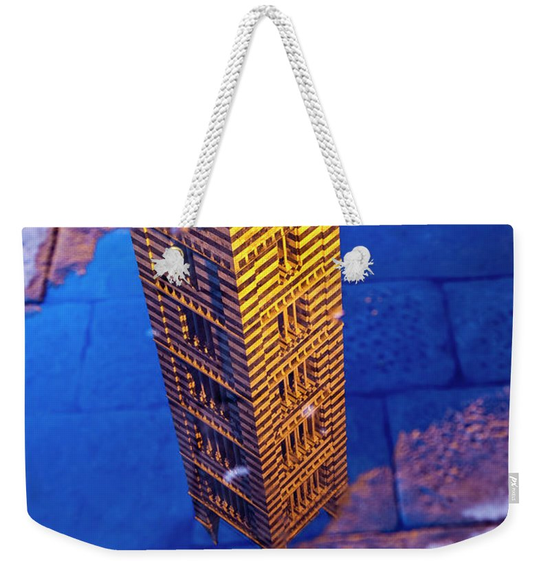 Built Structure Weekender Tote Bag featuring the photograph Siena Cathedral Tower Reflected In by Richard I'anson