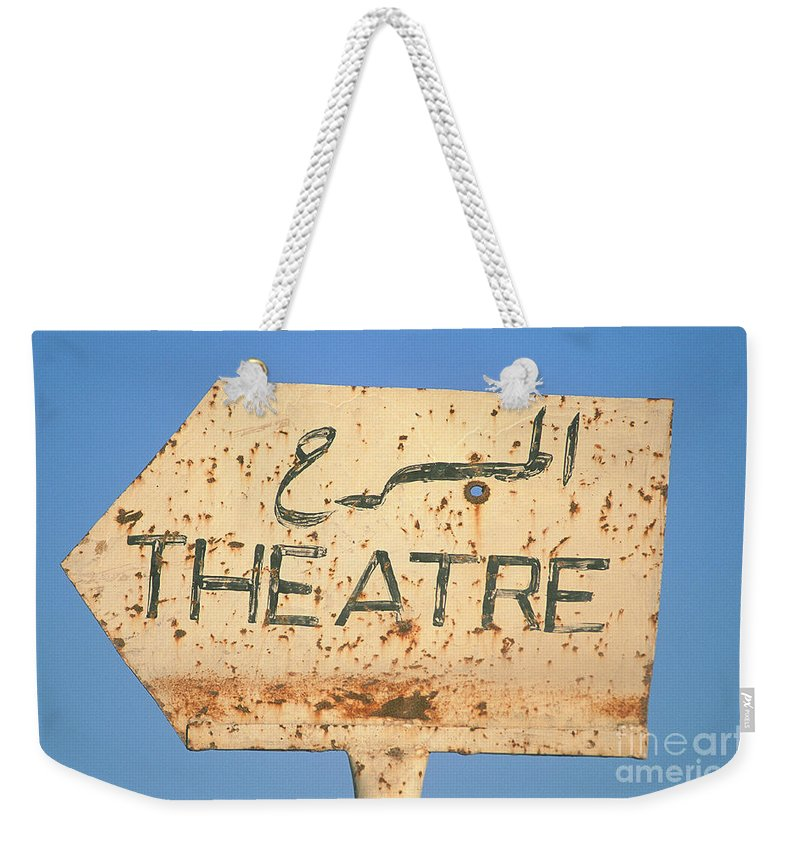 Syria Weekender Tote Bag featuring the photograph Sign In Arabic And English by Adam Sylvester