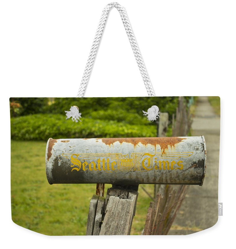 Newspaper Holder Weekender Tote Bag featuring the photograph Sign Of The Times Seattle Times by Cathy Anderson