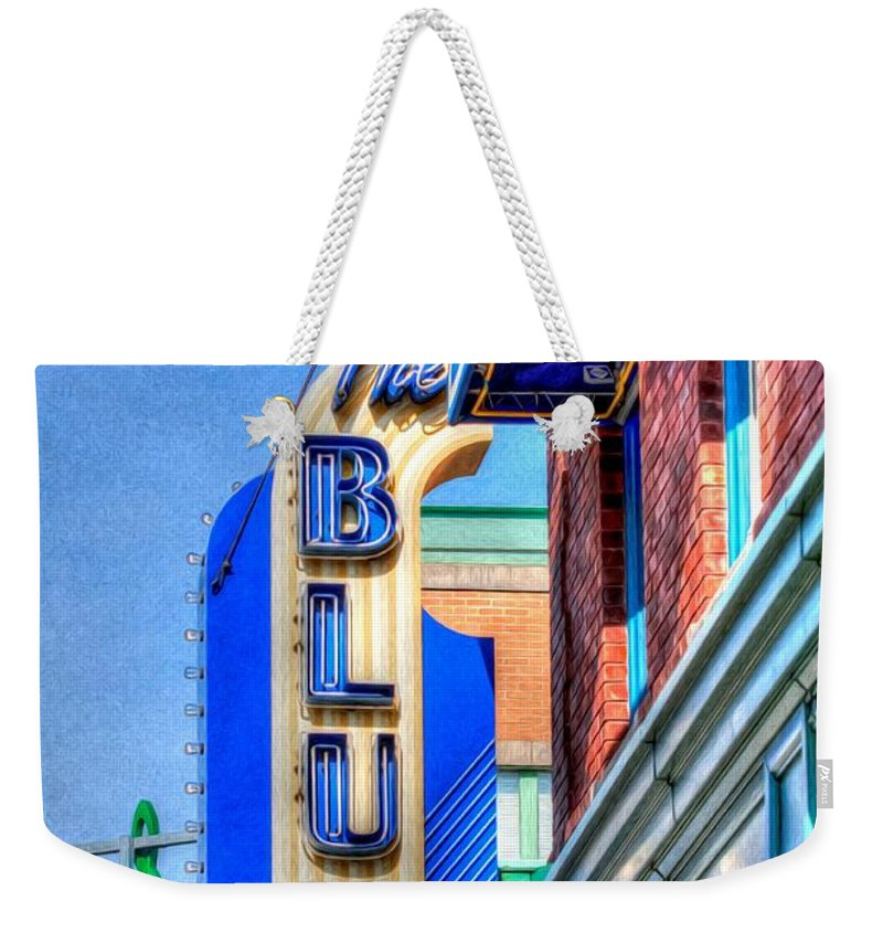 The Blue Room Weekender Tote Bag featuring the photograph Sign - The Blue Room - Jazz District by Liane Wright