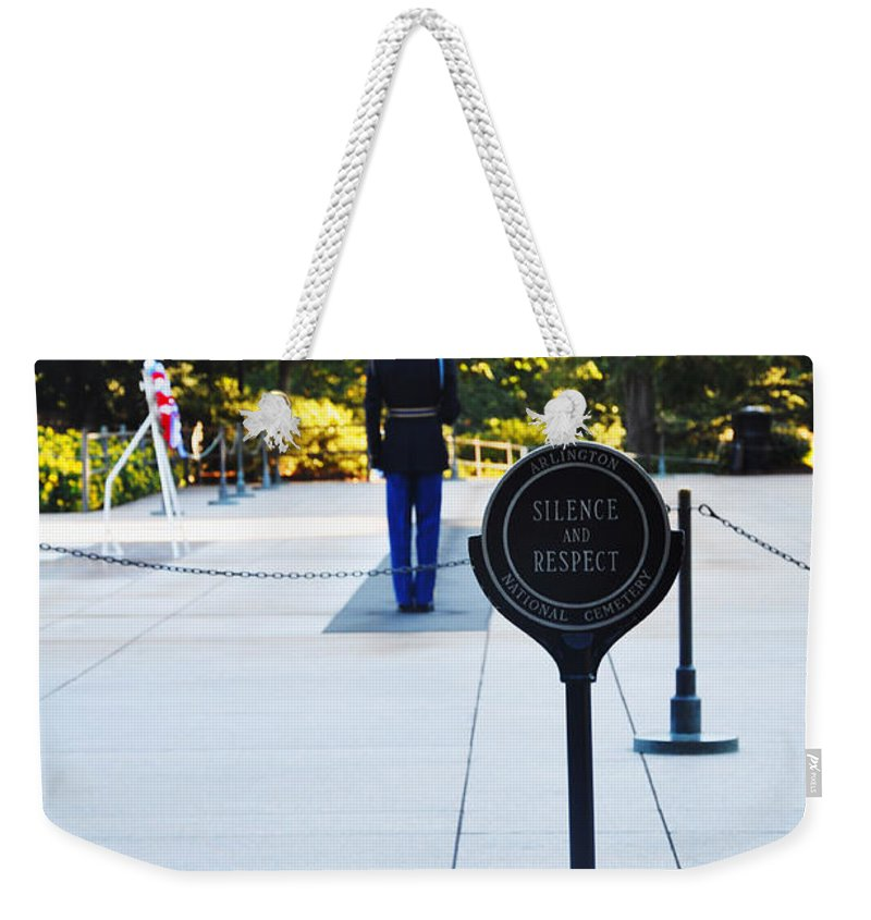 Tomb Of The Unknowns At Arlington National Cemetery Weekender Tote Bag featuring the photograph Silence by Brittany Horton