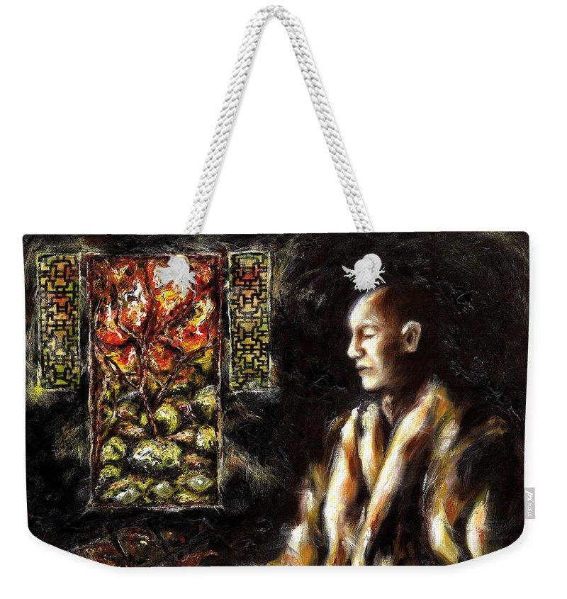 Zen Weekender Tote Bag featuring the painting Silence by Hiroko Sakai