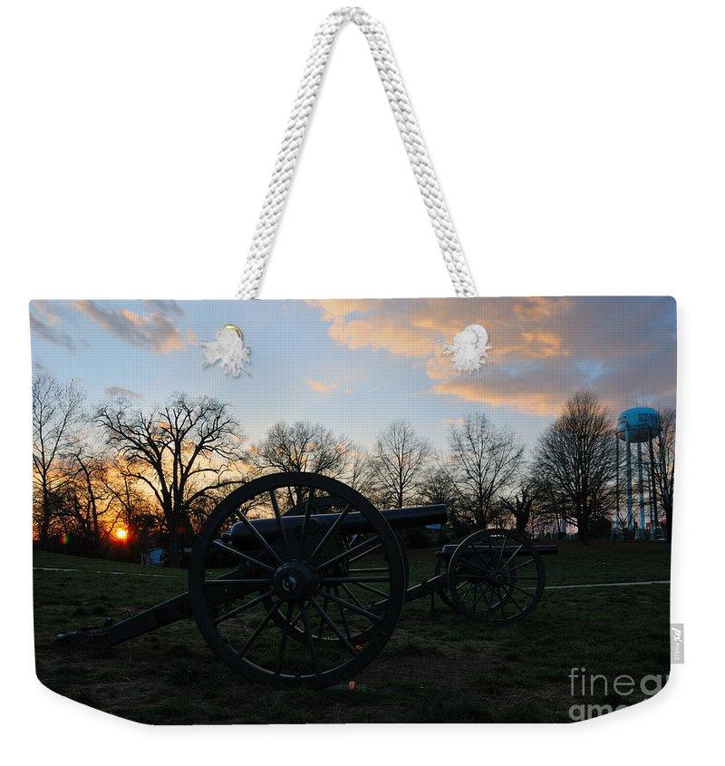 Civil War Us United States Manassas Battle Bull Run Canon Sunset Water Tower Weekender Tote Bag featuring the photograph Silent Guns At Manassas by Richard Gibb