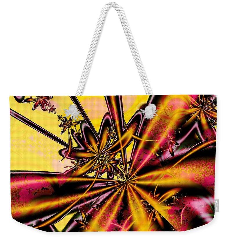Malakhova Weekender Tote Bag featuring the digital art Silk Flower by Anastasiya Malakhova