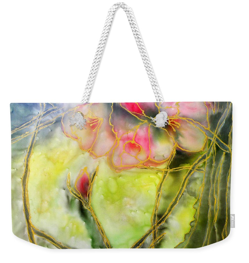 Augusta Stylianou Weekender Tote Bag featuring the painting Silky Almond Flower by Augusta Stylianou