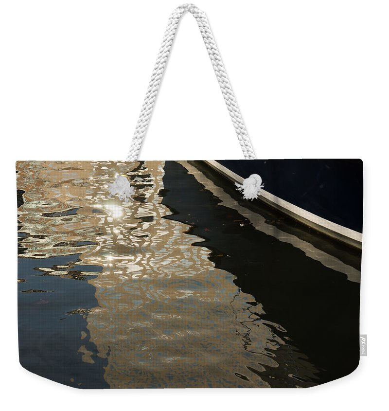 Georgia Mizuleva Weekender Tote Bag featuring the photograph Silky Swirls And Zigzags - A Waterfront Abstract by Georgia Mizuleva