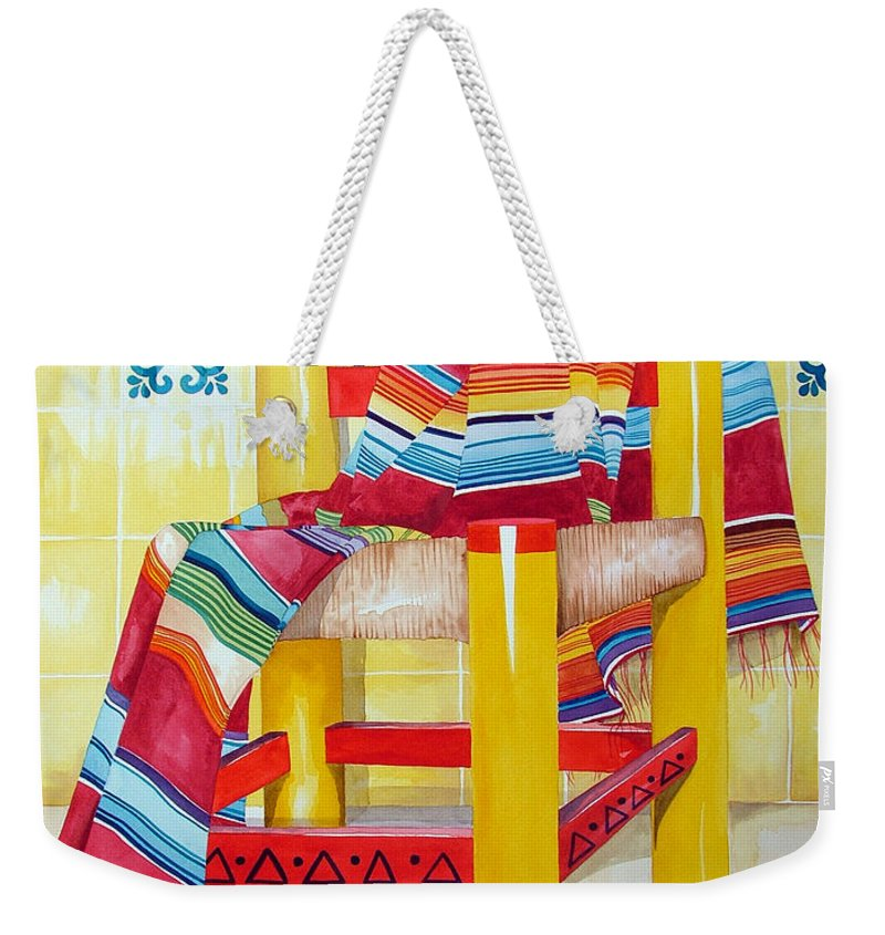 Still Life Painting Weekender Tote Bag featuring the painting Silla De La Cocina--kitchen Chair by Kandyce Waltensperger