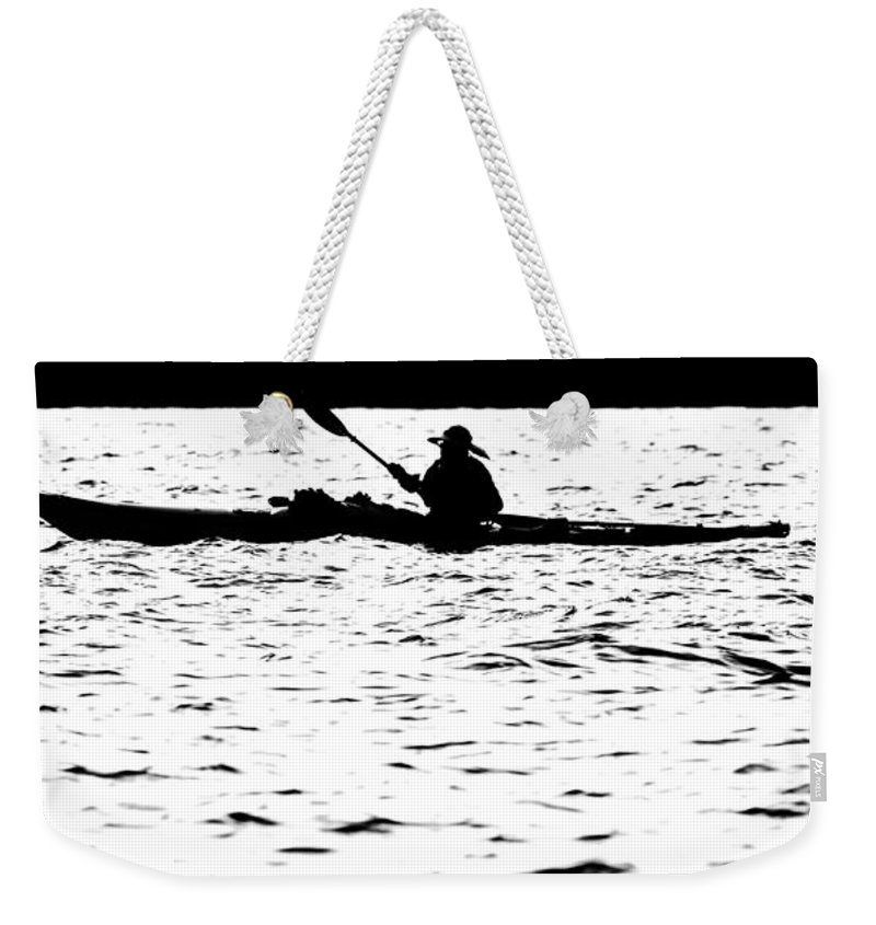 Activity Weekender Tote Bag featuring the photograph Sillouette Of Man Kayaking On Lake by Alex Grichenko