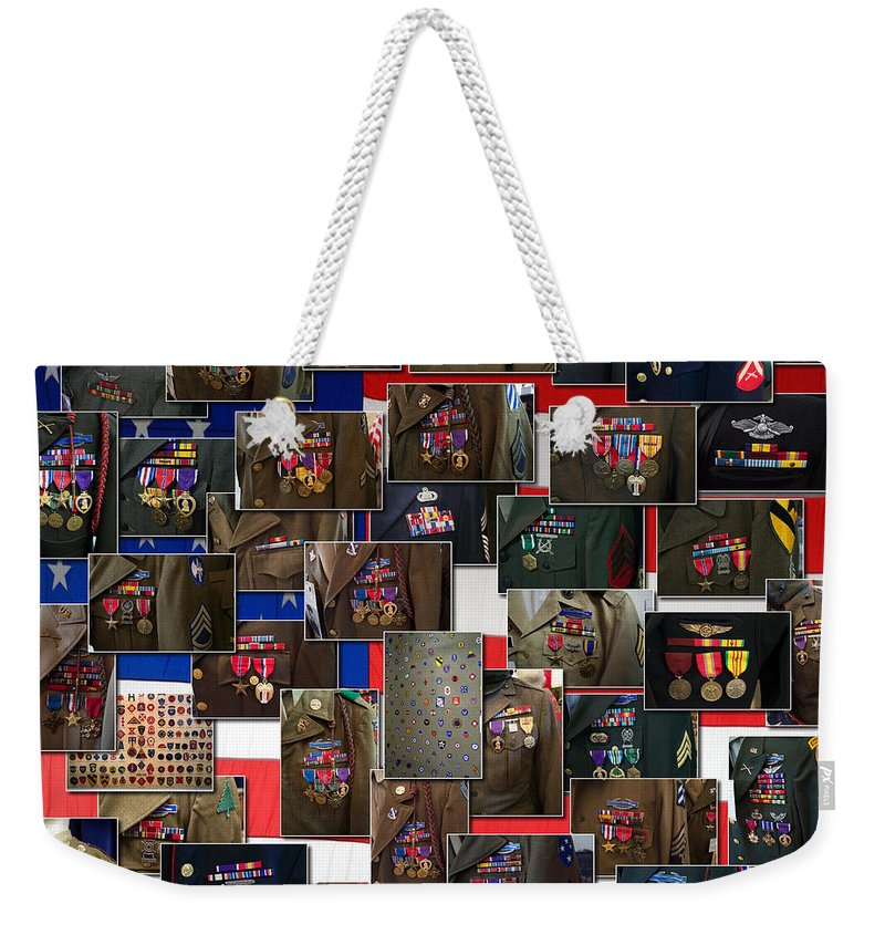 Square Weekender Tote Bag featuring the photograph Silver Bronze Purple And So Much More by Thomas Woolworth