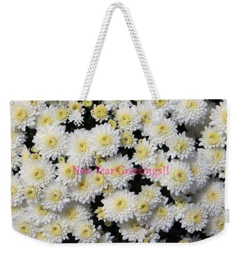 Chrysanthemum Weekender Tote Bag featuring the photograph Silver Greetings by Sonali Gangane
